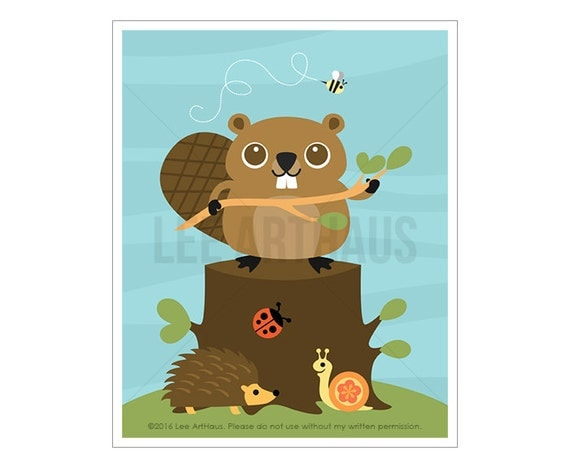 86A Woodland Animal Art - Beaver Wall Art - Beaver Print - Beaver Poster - Beaver Art - Woodland Boy Nursery - Woodland Nursery Wall Decor