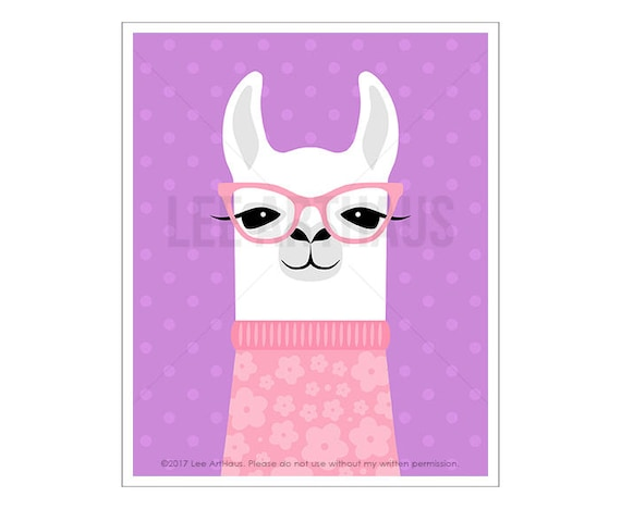 52J Children Decor - White Llama Wearing Pink Sweater Wall Art - Girl Bedroom Art - Pink and Purple Decor - Nursery Prints - Print for Girls