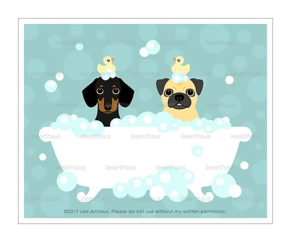 318D Dog Print - Dachshund Dog and Fawn Pug in Bubble Bath Wall Art - Dog Wall Art - Dachshund Print - Cute Pug Art Print - Dog Bath Art