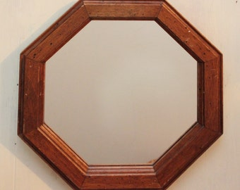 vintage octagon wall mirror - wood frame mirror - bohemian wall decor