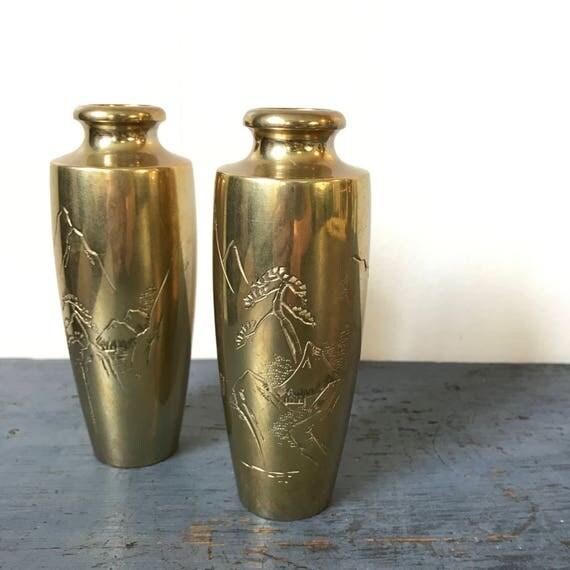 vintage brass vase - etched mini flower vase - incense holder - gold chinoiserie - Set of 2