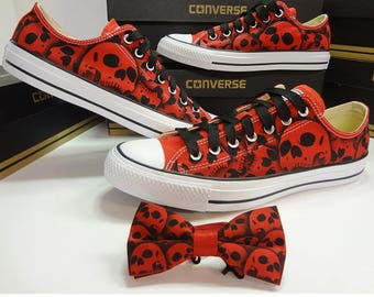 RokGear hand painted skull Converse shoes and matching skull bow tie custom painted by RokGear