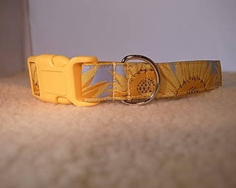 Sunflower Dog Collar with Side Release Buckle - JRT/Labrador/Vizsla/Poodle/Other Breed