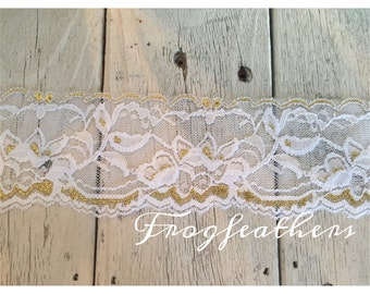New-GOLD Metallic on WHITE Stretch Lace no. 399  -2 1/4 inch -5 yards for 9.40