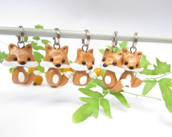 Fox Stitch Markers, cute fox charms funny knitting accessories, knit animal, gift for her knitter, woodland creatures animals, polymer clay