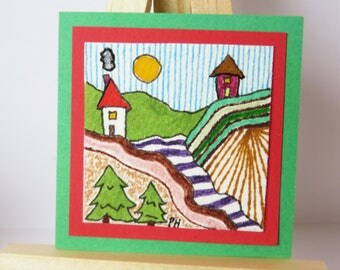 "The Valley Miniature Painting Colored Pencil Watercolor 2"" wide X 2"" tall for dollhouse"