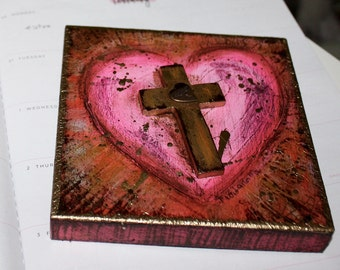 Memorial Sale 30% off at checkout - First Communion Heart with Cross -  Original Mixed Media Painting on Wood by FLOR LARIOS (5 x 5 inches)