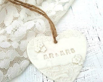 A set of 10 personalised vintage Inspired Porcelain Heart Wedding Favours