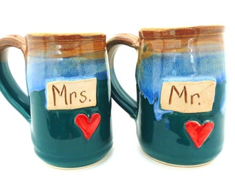 Handmade Pottery Mug  Set  Mr. and Mrs.  Wedding Mugs   Ceramics and Pottery  Jewel Pottery