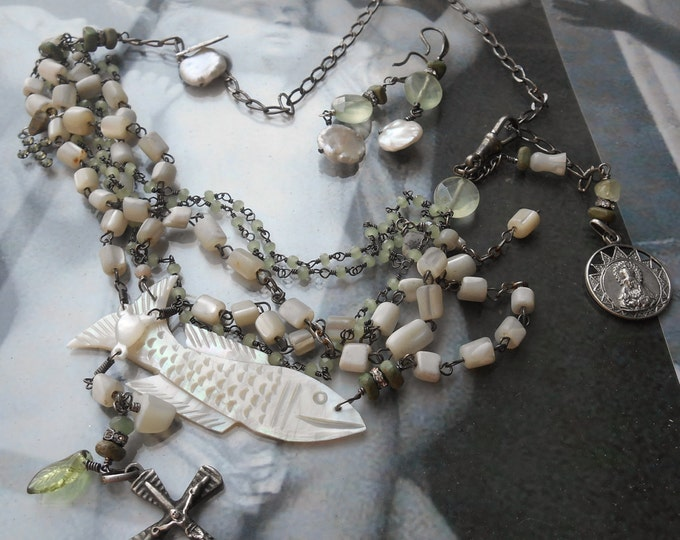 New Years Clearance Sale......She Works Hard for the Money Antique Sterling Mother pearl Fish Rosary Watch Fob