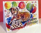 Morgan Birthday Card, Dog Birthday Card, Dog Painting, Dog Chess Game, Chess Lover Gifts, Dog Artwork, Australian Shepherd Painting