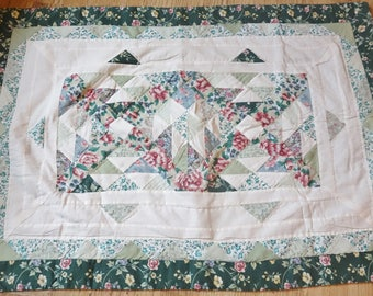vintage green quilted pillow sham 23x34 inches
