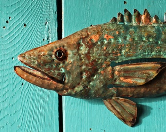 Largemouth Bass- copper metal freshwater gamefish fish art sculpture - wall hanging - blue-green and orange-brown patinas - OOAK