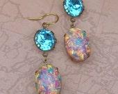 SALE Fire Opal Earrings, Pink Glass Opal Jewelry, Vintage Assemblage Earrings,  Estate Style Heirloom Dangle Drop Jewelry