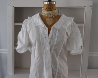 Laura Ashley White Cotton Blouse, Large Collar with Ruffled Edge, Pleated Front, Puff 3/4 Sleeves, Costume Blouse