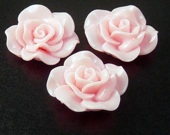 Cabochon Flower 2 Opaque Resin Rose Flower Round Pendant Size 30mm Pink (1014cab30m3-1)