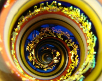 Vortex Marble Dichroic Glass Orb Art Fibonacci Golden Mean Spiral Optical Illusion (ready to ship)