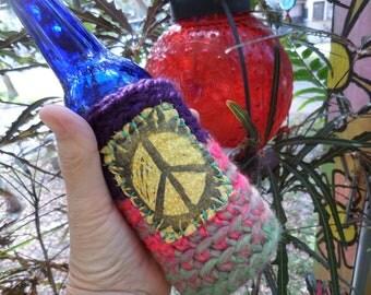 Hippie Gift, D66, Hippie Festival, Peace Sign, Beer cozy, beer cooler, hippie crochet, beer gift, beer accessory, can cooler, bottle cooler,