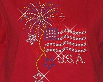 4th Of July Women's Short Sleeve Rhinestone Tee Shirt - Patriotic USA Sizes Small thru 3XL Plus Sizes Too FREE Shipping