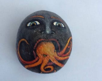 OCTOPUS MOUTH hand painted rock art face