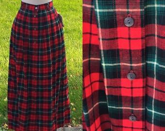 Sway Away Plaid Tartan 70s Maxi Skirt 26 Waist