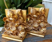 Magnolia Set Gold Wash Bookends  Lovely Dimensional Flower Heavy Desk Library