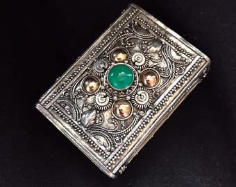 Green semiprecious stone -Matchbox, Pillbox, Ring Box, handcrafted Indonesian sterling silver and 14K Gold