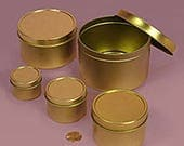 23 Unlabeled Empty 4 oz Gold Tins