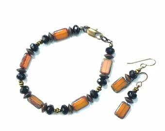 Bracelet and Earring Set topaz orange and black