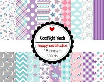 DigitalScrapbooking-GoodNightFriends Unicorn, Rainbow, Purple, Gray -InstantDownload