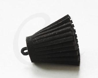 One Piece of Faux Suede - Velvet Cord - Tassels -  28x16mm - Black (C4)
