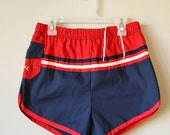 ON SALE Deadstock, 1980s Patriotic Surf Shorts >>> Men's Extra Small to Small >>> Boy's Size Large to Extra Large
