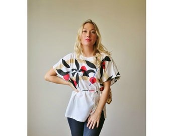 Deadstock, 1970s Asian Sunrise Blouse >>> Small to Extra Large