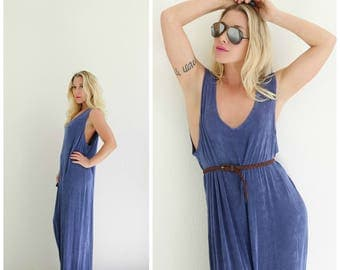1990s Periwinkle Minimalist Dress /// Size Large to Double Extra Large