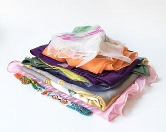 Scarf Lot Vintage Scarves Old Scarves Womens Scarves Silk Scarves