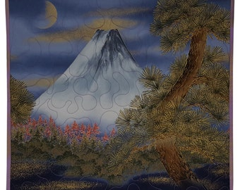 Art Quilt Asian Mountain Moon Rise Wall Hanging
