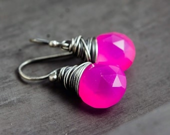 Hot Pink Earrings, Chalcedony Earrings, Wire Wrapped, Sterling Silver, Drop Earrings, Dangle Earrings,  Fluorescent, Neon, PoleStar