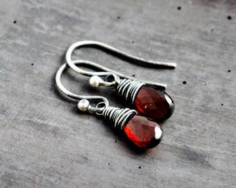 Rubelite Garnet Earrings, Garnet Drop Earrings, January Birthstone Jewelry,