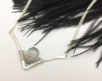Sterling Silver Chevron & Moss Aquamarine Necklace - N408SS-AQ -minimalist - handcrafted wire jewelry by cristysjewelry on etsy