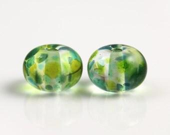 Green Lampwork Beads - Pair - Lampwork Beads - 13x9mm