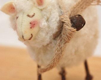 Sheep Little White Sheep Prim Needle Felted Sheep # 2358