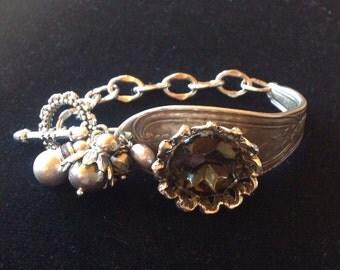 Vintage Black Diamond Rhinestone Spoon Bracelet
