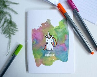 Unicorn Journal – Unicorn Notebook – Unicorn Party Favor – Unicorn Birthday – Lined Journal – Lined Notebook – Travelers Notebook – Rainbows