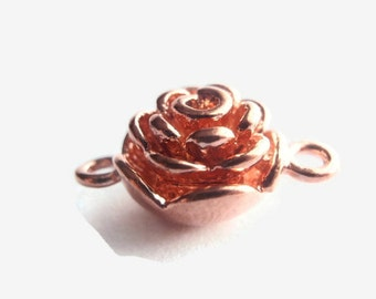 1 Rose Gold Color Magnetic Clasp, Jewelry Making Supply, Rose Gold Plated Brass, 20mm X 13mm X 9mm with 2mm hole