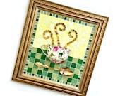 Mosaic Teacup Art, Yellow Green Gold Mosaic Teacup Art, Framed Rosebud Teacup Mixed Media Art, Coffee Cup Art, Kitchen Mixed Media Art