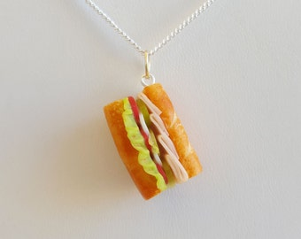 Turkey Sub Sandwich Necklace -Food Jewelry - Sports Jewelry - Food Necklace