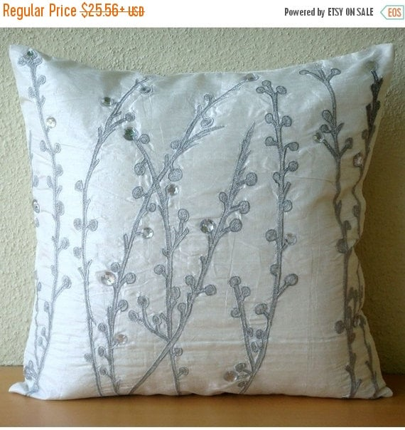 """15% HOLIDAY SALE Designer White Pillow Cases, 16""""x16"""" Silk Throw Pillows Cover, Square  Willow Design Crystals Pillows Cover - Crystal Willo"""