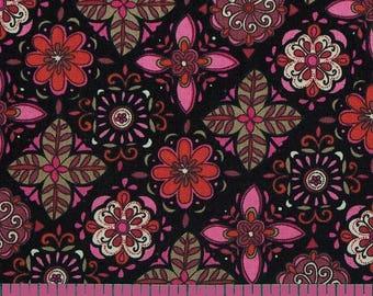 SALE 2 yards - Modern Nouveau Small Floral - Timeless Treasures - Floral Tiles TT3791 Black/Pink