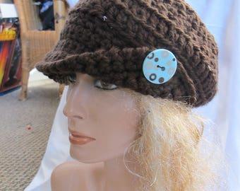 Brown Chunky Asymmetrical Brimmed Hat, Newsboy Hat, Chunky Newsboy Hat, Unisex Hat