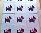 "Set of 12  Black Scottie Dog w/Red Bandana  6"" x 6""  Cotton Quilt Blocks"